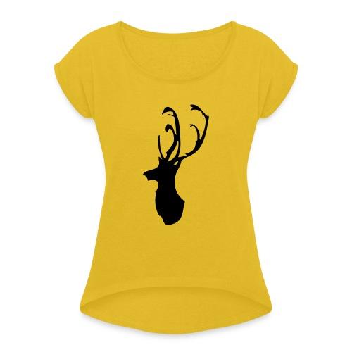 Mesanbrau Stag logo - Women's Roll Cuff T-Shirt