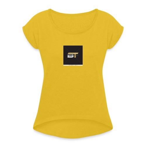 BT logo golden - Women's Roll Cuff T-Shirt