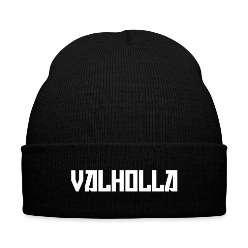 Valholla is the Future Hoody (Sweatshirt) Black - Knit Cap with Cuff Print