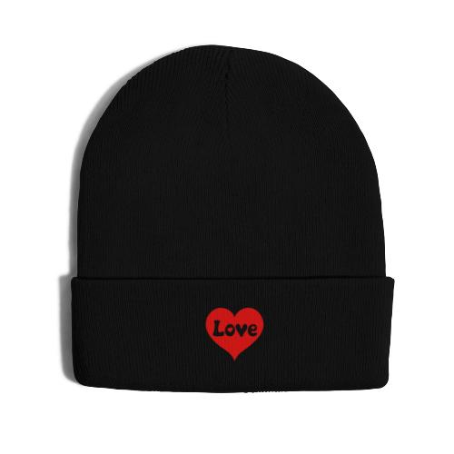 Love Heart - Knit Cap with Cuff Print