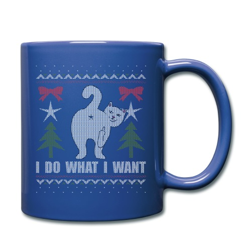 Ugly Christmas Sweater I Do What I Want Cat - Full Color Mug