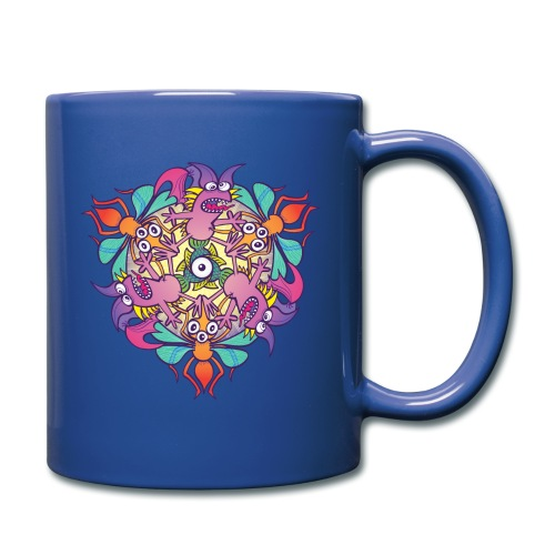 Mosquitoes, bats and fishes in doodle art style - Full Color Mug