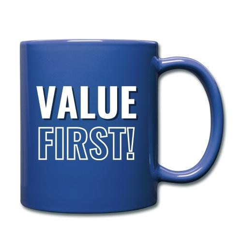 Value First Design - White Text - Full Color Mug