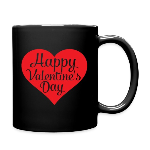 Happy Valentine s Day Heart T shirts and Cute Font - Full Color Mug