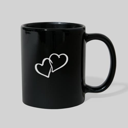 Double Heart Full Black Mug - Full Color Mug