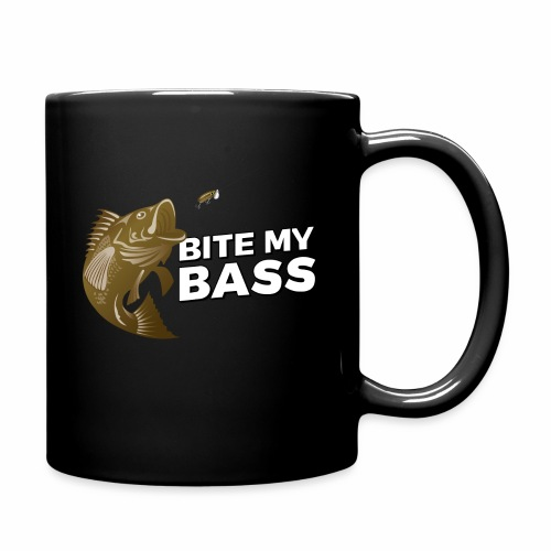 Bass Chasing a Lure with saying Bite My Bass - Full Color Mug