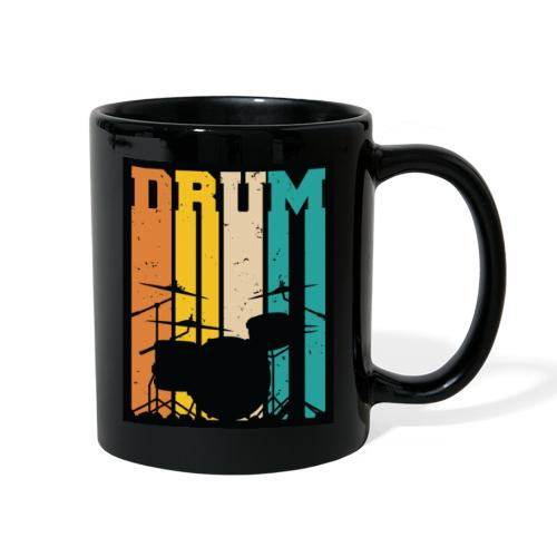 Retro Drum Set Silhouette Illustration - Full Color Mug