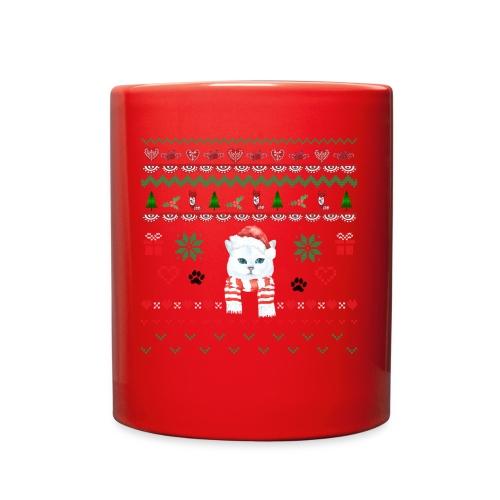 Scandinavian White Christmas Cat - Full Color Mug