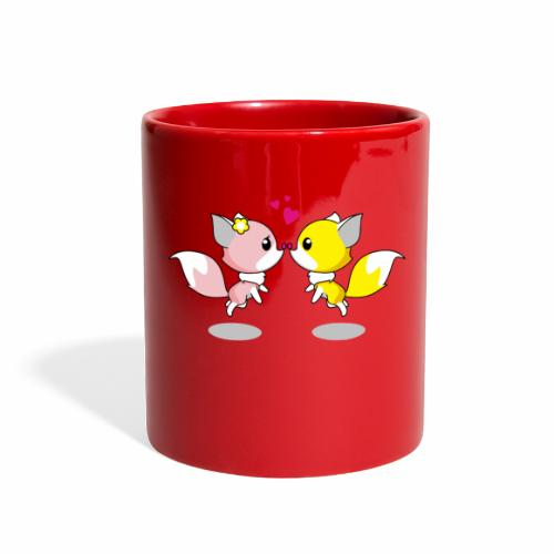 Two cute little foxes kissing and being in love - Full Color Mug