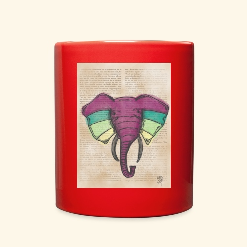 Elephant Water Color Face - Full Color Mug