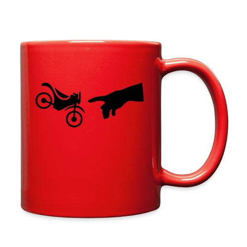 The hand of god brakes a motorcycle as an allegory - Full Color Mug
