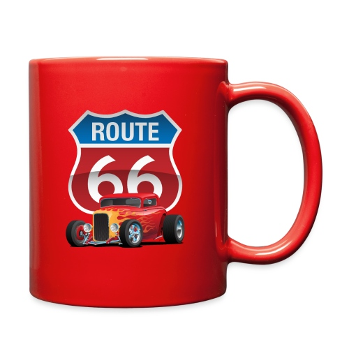 Route 66 Sign with Classic American Red Hotrod - Full Color Mug