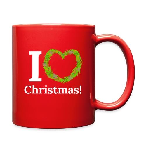 I Love Heart Christmas - Xmas Wreath Design! - Full Color Mug