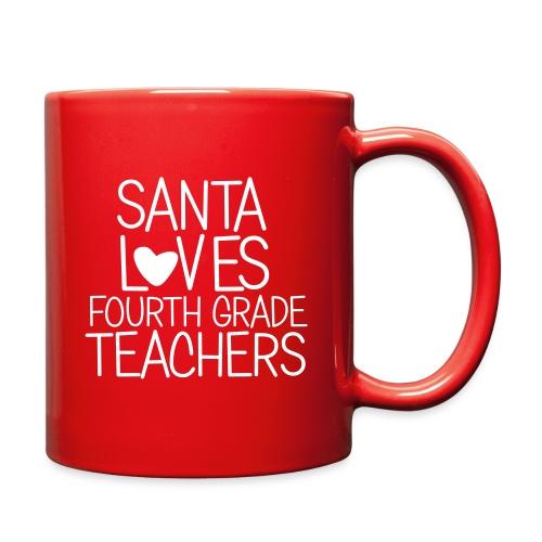 Santa Loves Fourth Grade Teachers Christmas Tee - Full Color Mug