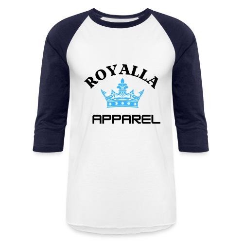 Royalla Apparel LogoBlack with Blue Words - Unisex Baseball T-Shirt