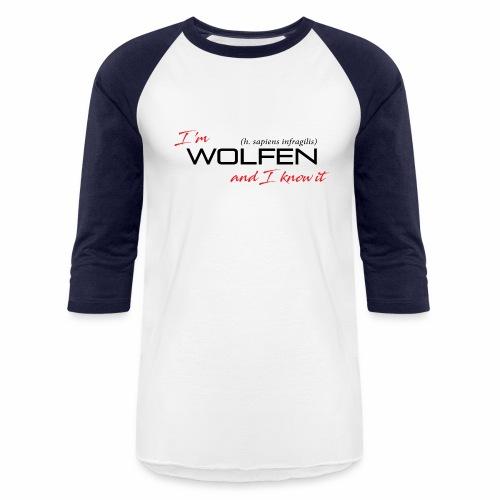 Front/Back: Wolfen Attitude on Light- Adapt or Die - Unisex Baseball T-Shirt