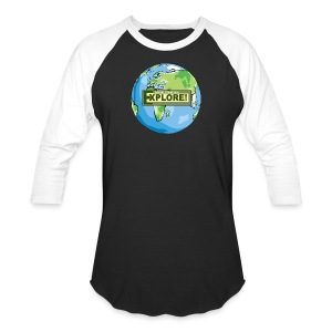 EXPLORE! Logo on the Earth - Baseball T-Shirt
