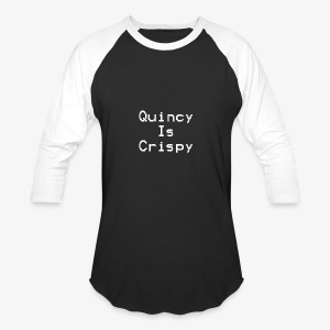 QuincyIsCrispy Text Logo (White) - Baseball T-Shirt