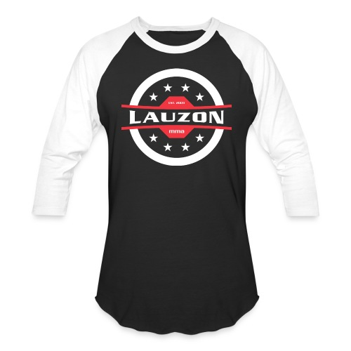 White on Black Lauzon MMA Logo w No Words - Unisex Baseball T-Shirt