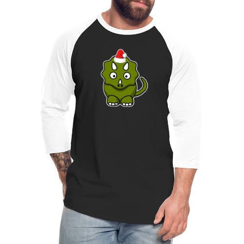 Happy Holidays Triceratops - Unisex Baseball T-Shirt