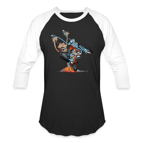 Funny biker riding a chopper cartoon - Baseball T-Shirt