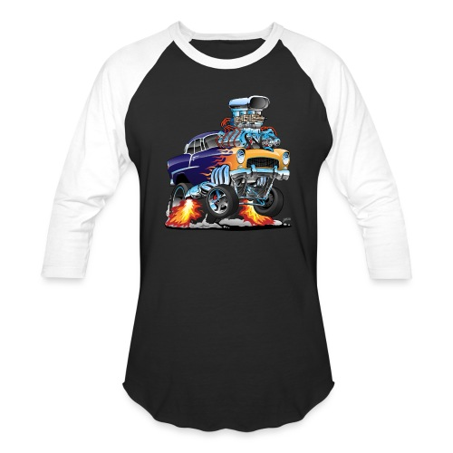 Classic Fifties Hot Rod Muscle Car Cartoon - Baseball T-Shirt