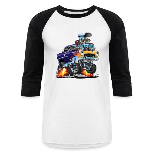 Classic Fifties Hot Rod Muscle Car Cartoon - Baseball T-Shirt
