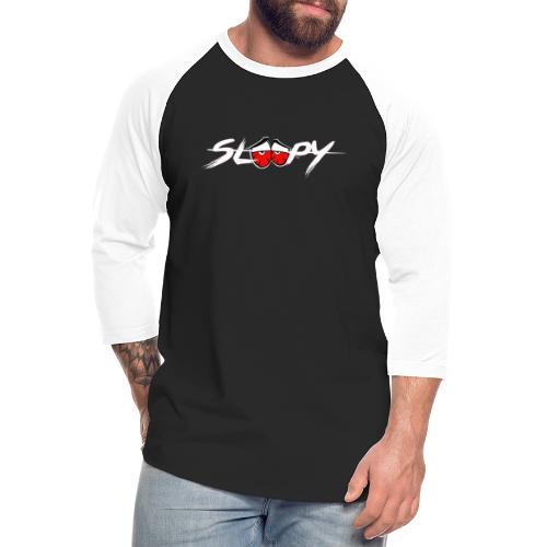 Sleepy Logo White/Red Eyes - Unisex Baseball T-Shirt