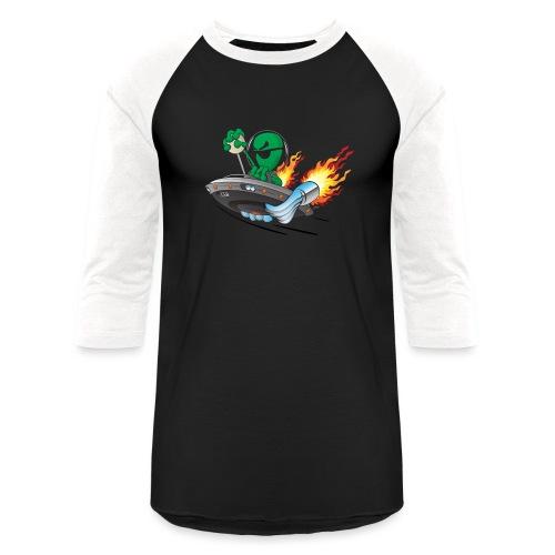 UFO Alien Hot Rod Cartoon Illustration - Baseball T-Shirt