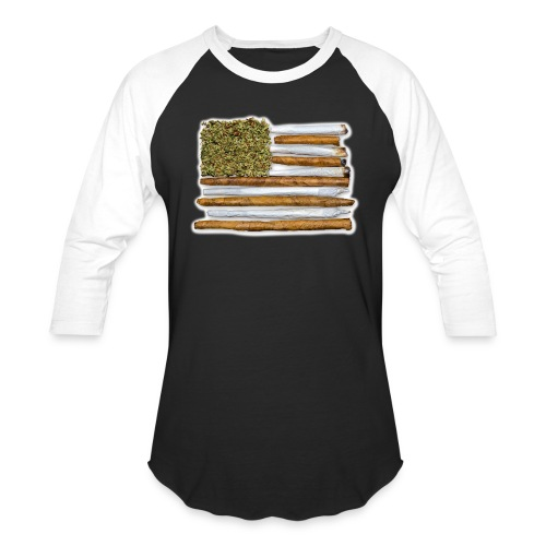 American Flag With Joint - Unisex Baseball T-Shirt