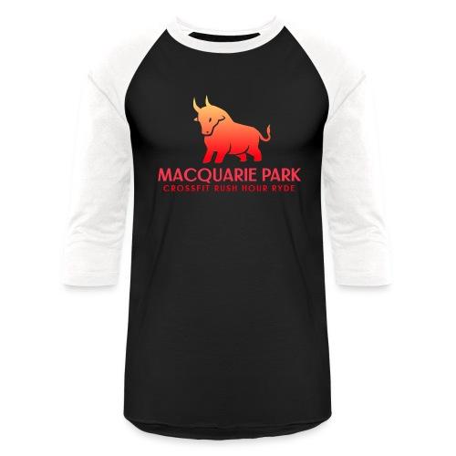 Orange Bull Red Text - Unisex Baseball T-Shirt