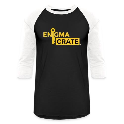 gold on black enigma crate logo - Unisex Baseball T-Shirt