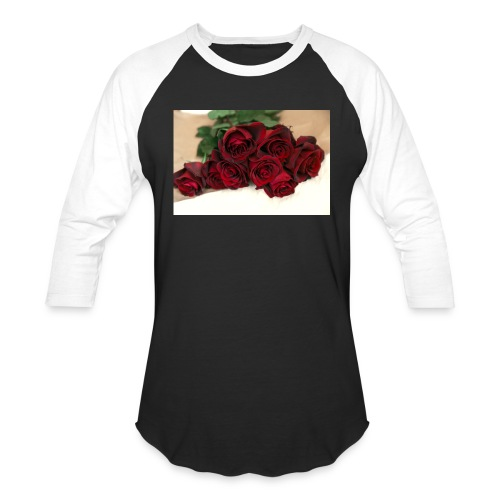 red rose bouquet on table - Unisex Baseball T-Shirt