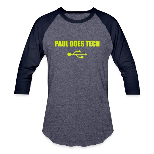 Paul Does Tech Yellow Logo With USB (MERCH) - Baseball T-Shirt