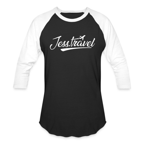 Jess Travel Logo White - Unisex Baseball T-Shirt