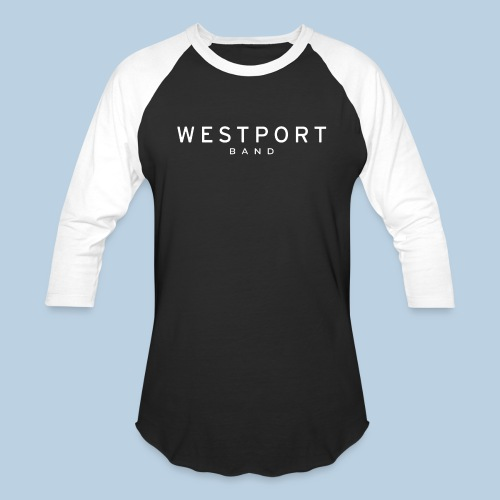 Westport Text White on transparent - Unisex Baseball T-Shirt