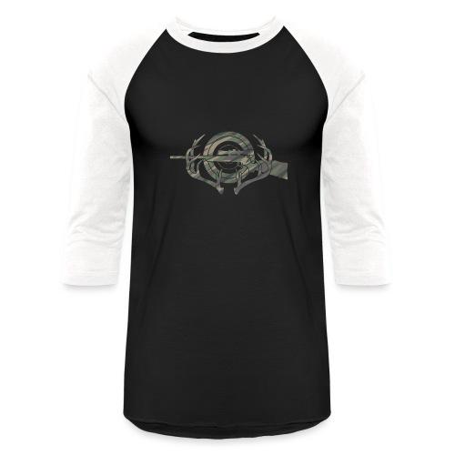 Camouflage Hunting and Shooting Sports Logo - Baseball T-Shirt
