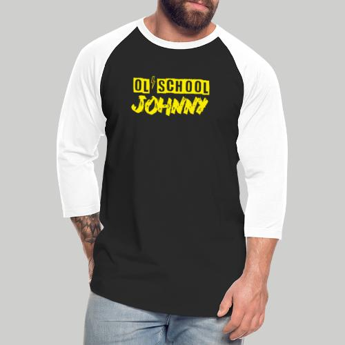 Ol' School Johnny Logo in Yellow - Unisex Baseball T-Shirt