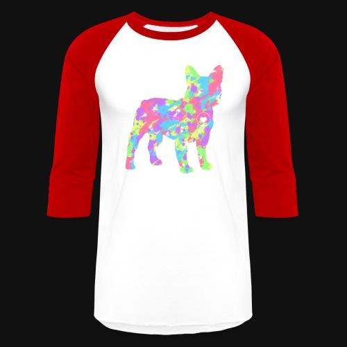 Frenchie love splatter - Unisex Baseball T-Shirt