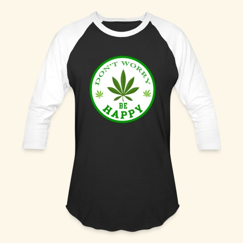 DON'T WORRY BE HAPPY - CANNABIS LEAF T-SHIRT - MEN - Baseball T-Shirt