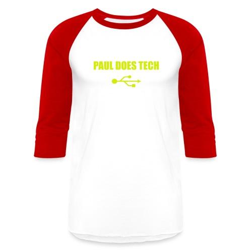Paul Does Tech Logo Yellow With USB (BS) - Baseball T-Shirt