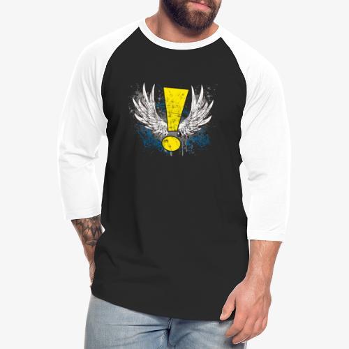 Winged Whee! Exclamation Point - Unisex Baseball T-Shirt