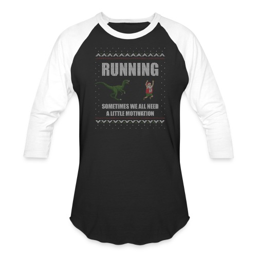 Ugly Christmas Sweater Running Dino and Santa - Baseball T-Shirt