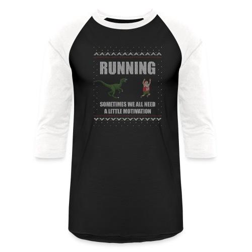 Ugly Christmas Sweater Running Dino and Santa - Unisex Baseball T-Shirt