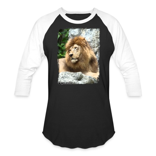 Lion On Rocks - Unisex Baseball T-Shirt