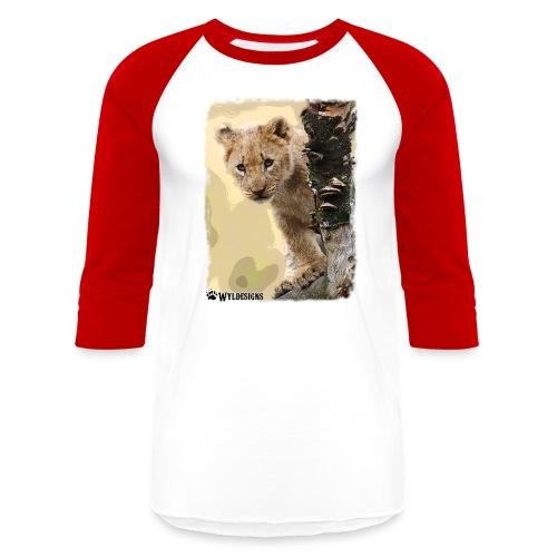 Lion Cub Peeking - Unisex Baseball T-Shirt