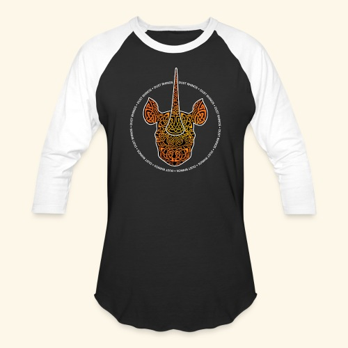 Dust Rhinos Orange Knotwork - Unisex Baseball T-Shirt