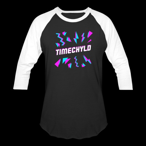 Timechyld Logo with Retro Pattern - Unisex Baseball T-Shirt
