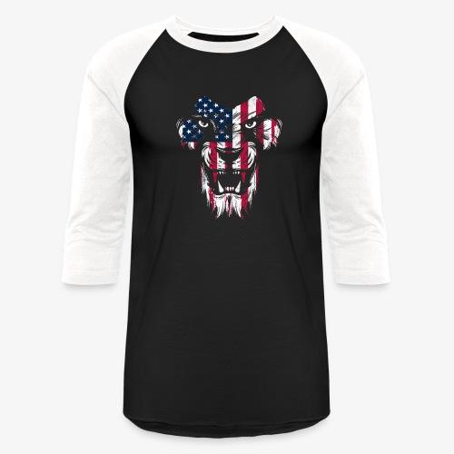 American Flag Lion - Unisex Baseball T-Shirt