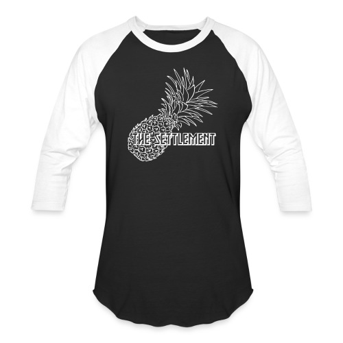 Pineapple with Band Name | The Settlement - Unisex Baseball T-Shirt